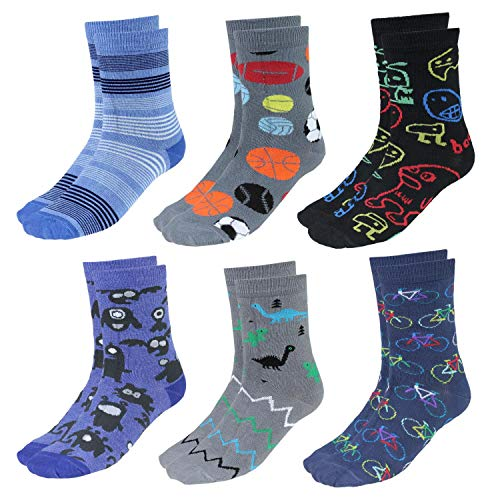 TupTam Kinder Socken Bunt Gemustert 6er Pack für Mädchen und Jungen, Farbe: Junge 2, Socken Größe: 31-34