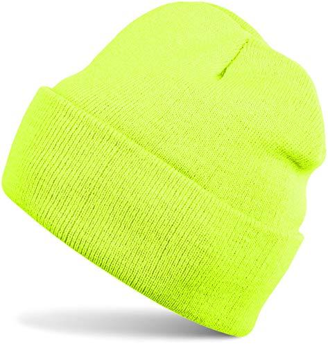 styleBREAKER Kinder Beanie Strickmütze mit breiter Krempe, Feinstrick Mütze doppelt gestrickt, Kindermütze 04024030, Farbe:Neongelb