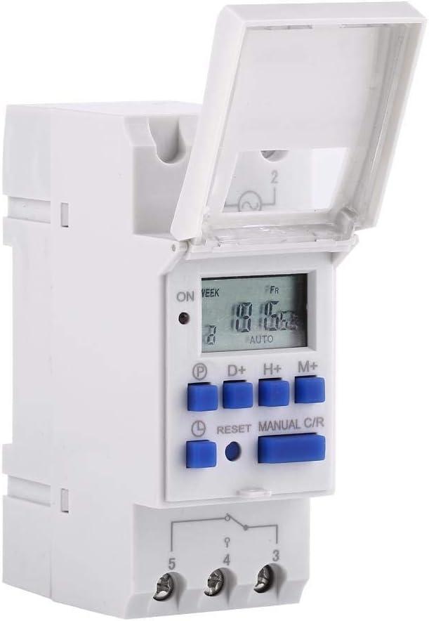 Temporizador digital, LCD programable, relé electrónico, temporizador digital programable en carril DIN, 16 A (220 V)