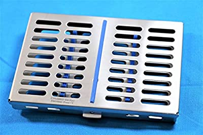 """German Stainless Surgical Dental Instruments Autoclave Sterilization Cassette 7.25"""" X 5"""" X 0.75"""" Tray Racks Box for 10 Instruments"""