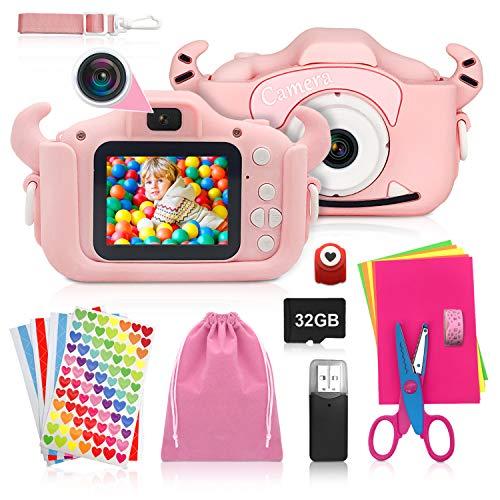 ShengRuHai Cámara de Fotos Digital para Niños,Cámara Digitale Selfie para Niños con Tarjeta de Memoria Micro SD 32GB,HD 1200 MP/1080P Doble Objetivo Regalos de Cumpleaños 3 a 12 años Niños y niñas