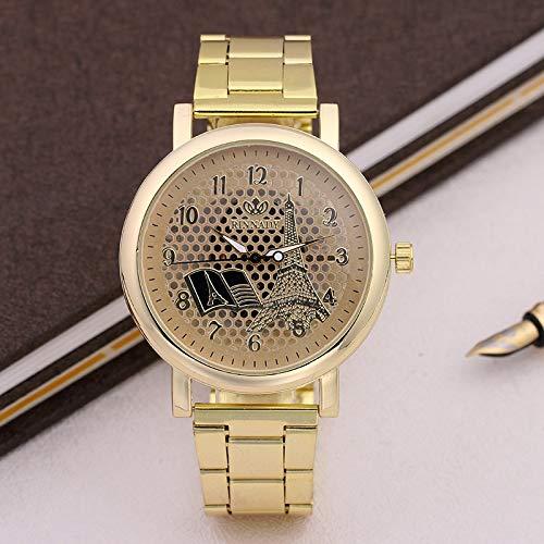 JZDH Relojes de Las Mujeres Casual Watch Digital Quartz Reloj De Manera De Hierro Hueca Torre De Las Mujeres Mujeres del Acero Inoxidable del Reloj Señora Reloj