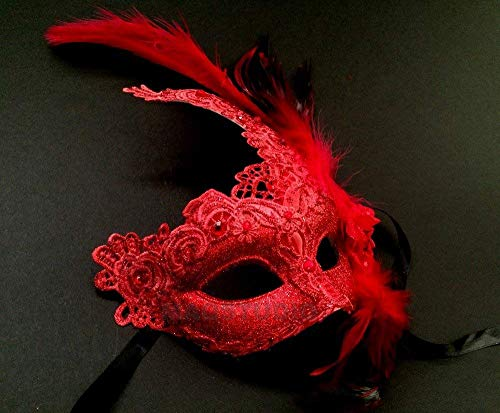 MasqStudio Brocade Lace Masquerade Ball Mask Burlesque Mardi Gras Birthday Prom Wedding Party (Red)