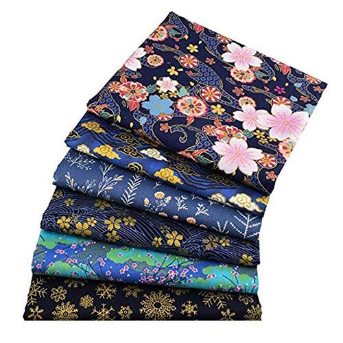 6Pcs Baumwollstoff Patchwork Stoffe DIY Gewebe Quadrate Baumwolltuch Stoffpaket Gewebe Quadrate Baumwolltuch Stoffreste Stoffpaket Zum Nähen Muster Im Japanischen Stil