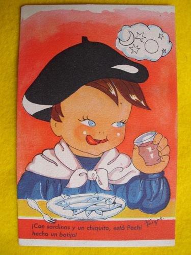 Antigua Postal - Old Postcard : Con sardinas y un chiquito,