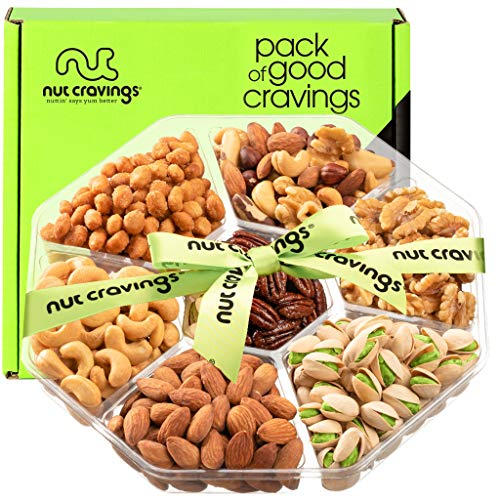 Nut Gift Basket + Green Ribbon (7 Piece Assortment, 1 LB) - Prime Arrangement Platter, Birthday Care Package Variety, Healthy Food Tray, Kosher Snack Box for Families, Women, Men, Adults