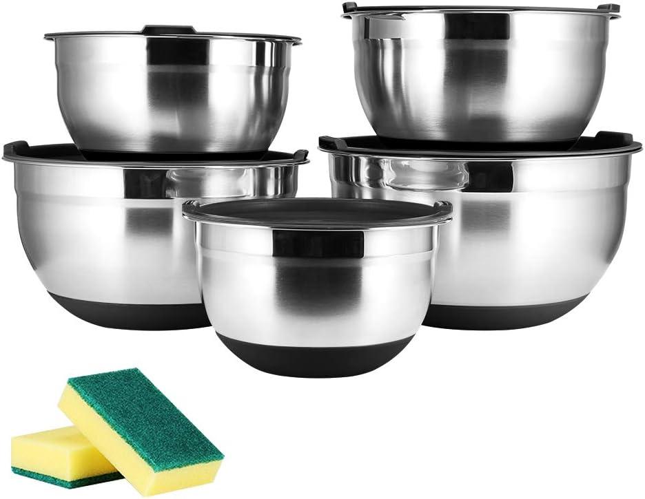 JUNING 18/10 juego de 5 cuencos de acero inoxidable, tecnología muy pulida, juego de tazones para mezclar / ensaladera de acero inoxidable, cocina de utensilios de cocina esenciales