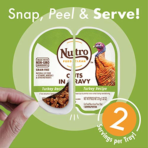 NUTRO Grain Free Natural Soft Wet Cat Food Cuts in Gravy Turkey Recipe and Chicken Recipe Variety Pack, (12) 2.6 oz. PERFECT PORTIONS Twin-Pack Trays