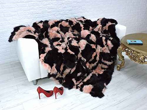 CuddlyDreams Luxury Genuine Fox Fur Throw, Blanket, Dyed Black & Pink Colour, i968