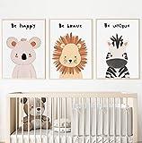 Kolorix Set de Cuadros Infantiles para habitación bebé Láminas Infantiles de Animales. Juego de 3 láminas para Cuadros Infantiles DIN A4. Poster de Animales, Safari para decoración Infantil.