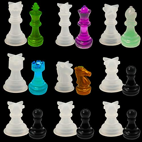 3D Chess Piece Resin Mold Set, 9 Pcs Chess Pieces Silicone Molds Chess Crystal Epoxy Casting Molds for DIY Art Crafts Jewelry Making, Family Board Games