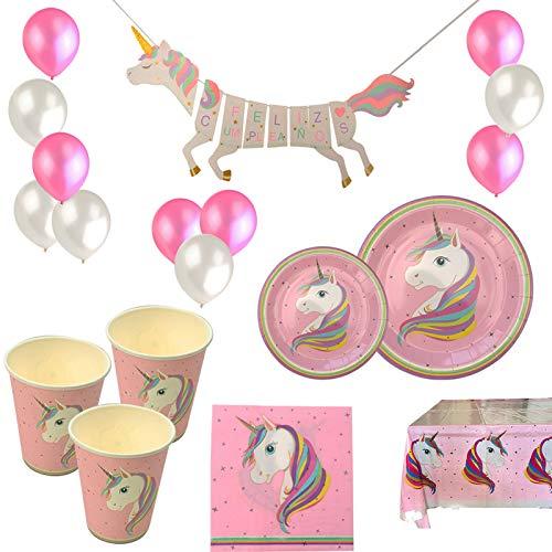VARIOUS Vajilla Desechable Cumpleaños Unicornio Rosa,para 18 Personas,108 Piezas Incluye Platos, Vasos, Mantel, Servilletas,Guirnalda, Pajitas y Globos,Ideal para Niñas y Infantiles