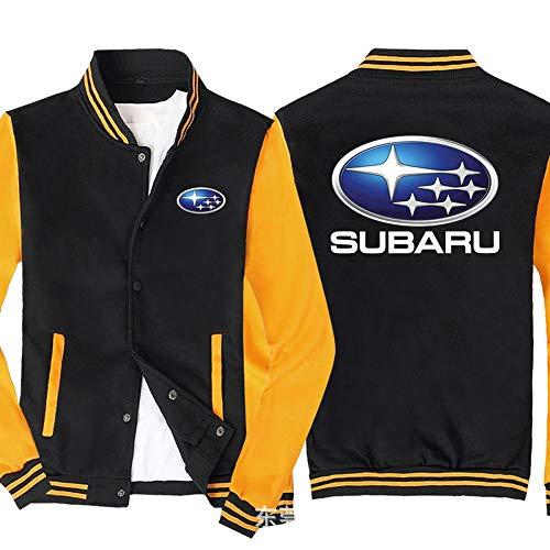 Jacket Hombres Sudadera Chaqueta - Subaru Impreso Camiseta De Manga Larga Uniforme De Béisbol con Cremallera Chaqueta De Punto - Adolescente Regalo Black Yellow-XXL