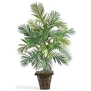 Nearly Natural 6536 Areca Palm with Wicker Basket Decorative Silk Plant, Green,10.5″ x 10.5″ x 40″