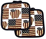 High End Home Independence Day Collection 2 Pot Holders, American Apple Pie, Includes 1 Year Warranty, Red White Blue