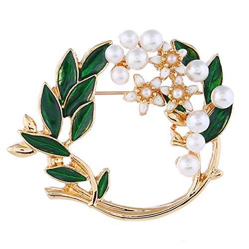 La Espoir Pearl Flower Garland Broach Pin Green Enamel Leaf Clothes Jewelry Floral Circle Pins Gift for Mom