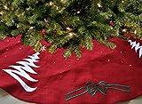 Hecho a mano de árbol de Navidad rojo yute bordada Navidad decoración Navidad Santa Claus oro...