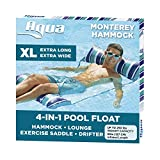 Aqua 4-in-1 Monterey Hammock XL (Longer/Wider) Inflatable Pool Chair, Adult Pool Float (Saddle, Lounge Chair, Hammock, Drifter), Water Hammock, Teal/Navy Stripe