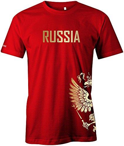 Jayess WM 2018 - Russland - Russia - Adler Gold - Fanshirt - Herren T-Shirt in Rot by Gr. M