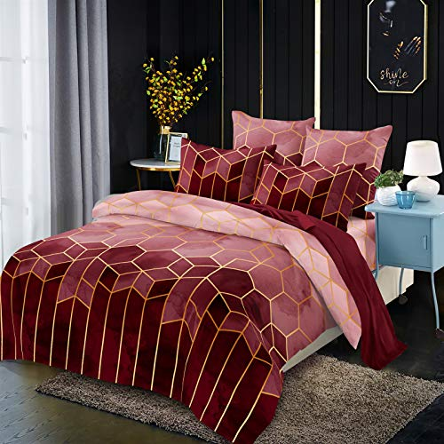 Duvet cover and pillowcase bedding quilt cover single double room king-size bed (Rolney wine red)