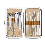 Bobury 10pcs / set de acero inoxidable Set de manicura Cortauñas Limpiador kit de aseo personal Cuidado de las uñas Nail Trimmer Set