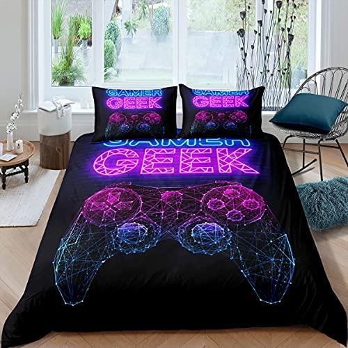 Gamer Geek - Juego de funda de edredón 3D de color morado y azul, juego de cama para niños, adolescentes, niños, jóvenes, poliéster, juego de cama moderno para dormitorio, sala de estar
