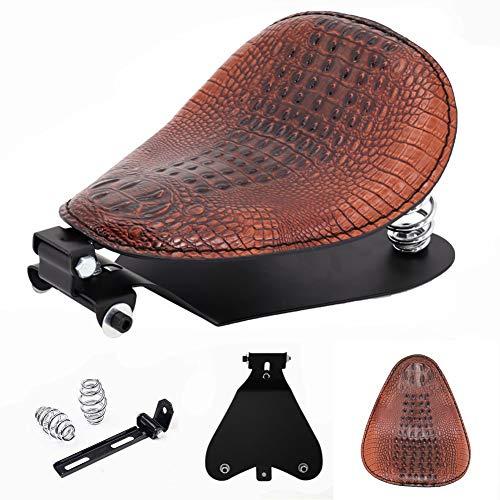 Brown Alligator PU Leather Driver Bobber Solo Seat Springs Base Plate Pan Bracket Mount Kit for Harley Sportster XL 883 1200 48 Dyna