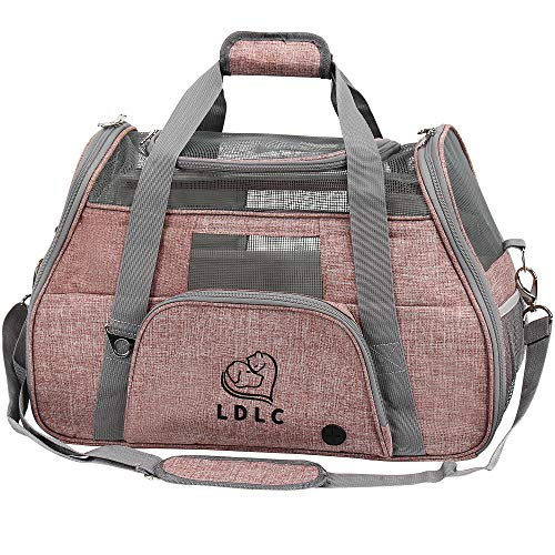 DW Dawoo Pet Carrier,Cat Carrier Airline-Approved Travel Pet Carrier,Dog Carrier,Suitable for Small and Medium-Sized Cats and Dogs(Light Pink)
