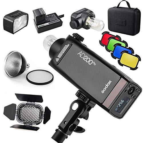 【Godox正規代理店&PSEマーク】Godox AD200Pro フラッシュストロボ ポケットサイズ 無線制御 高速同期など BD-07バーンドアとハニカムグリッド4色フィルターキット同梱