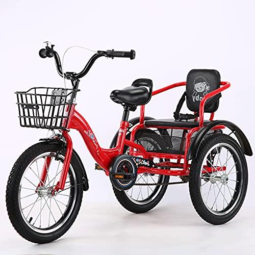 Triciclo de Adultos Triciclo Adulto Bicicleta De 3 Ruedas 16 Pulgadas De Tres Ruedas Para Bicicleta De Bicicleta De Acero Ajustable Para Bicicletas De Bicicleta Para 2-12 Años De Compras C(Color:ROJO)