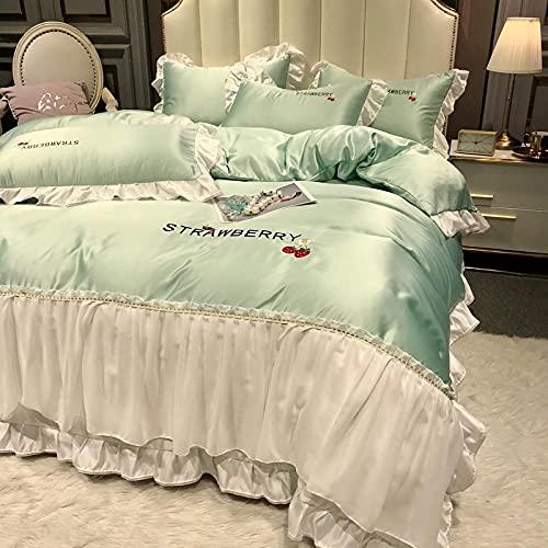Cubierta de seda de seda lavada de dos caras de verano, ropa de cama y ropa de cama, conjunto de hojas de microfibra, arruga, desvanecimiento, resistente a las manchas, hoja plana, fundas de almohada