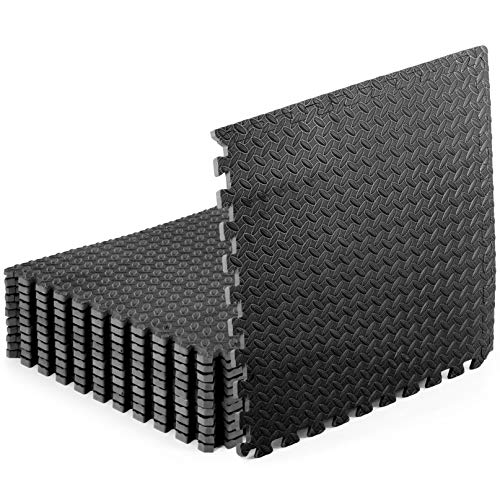 "ProsourceFit Puzzle Exercise Mat ½"", EVA Foam Interlocking Tiles Protective Flooring for Gym Equipment and Cushion for Workouts , Black 48 Square Feet, 1/2' Black 2-Pack"