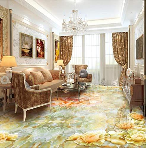 Pegatinas de pared de vinilo decorativo jade peony parquet suelos de vinilo a prueba de agua 3d baldosas para salón-300 * 210 cm