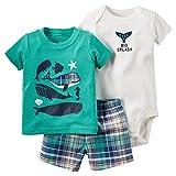 Evelin LEE Baby Boy Short Sleeve T-Shirts and Stripe Shorts 2pcs Set Clothes, 3pcs-01, 18M