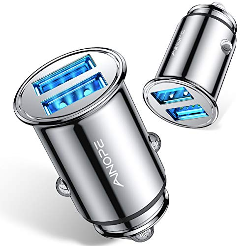 [2-Packs] Cigarette Lighter USB Charger, All Metal Mini Car Charger Adapter 4.8A Fast USB Car Charger 2 Port Flush Fit Compatible with iPhone 12/11pro/x/7/6s, iPad Air 2/Mini 3,Galaxy S10/S9/S8-Silver