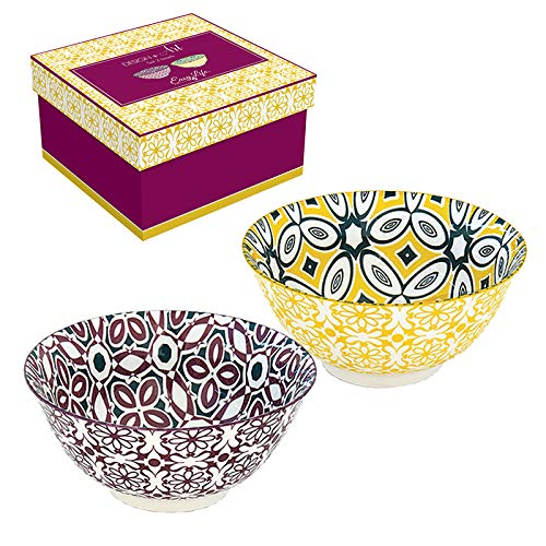 Easy Life 425BALI Design + Art Cofanetto 2 ciotole D15 cm in ceramica BALI, multicolore