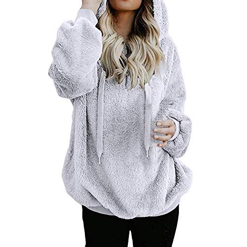 iHENGH Damen Winter Jacke Dicker Warm Bequem Slim Lässig Stilvoll Mantel Frauen mit Kapuze Sweatshirt warme Wolle Reißverschluss Taschen Baumwolle Parka Coat