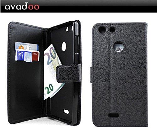 avadoo® Archos 55 Diamond Selfie Lite Flip Hülle Cover Tasche Schwarz mit Magnetverschluss & Dualnaht als Cover Tasche Hülle