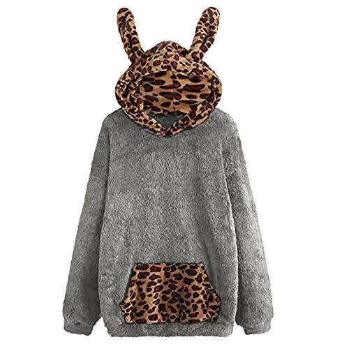 Xmiral Kapuzenpulli Damen Süßes Ohr Pullover Langarm Leopard Plüsch Pullover Fuzzy...