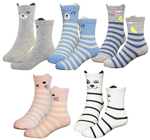 HzCojulo Kids Toddler Big Little Girls Fashion Cotton Crew Cute Socks -5 Pairs Gift Set,Multicolor-DOS,Shoe size 13-3.5/L/7-10 Years