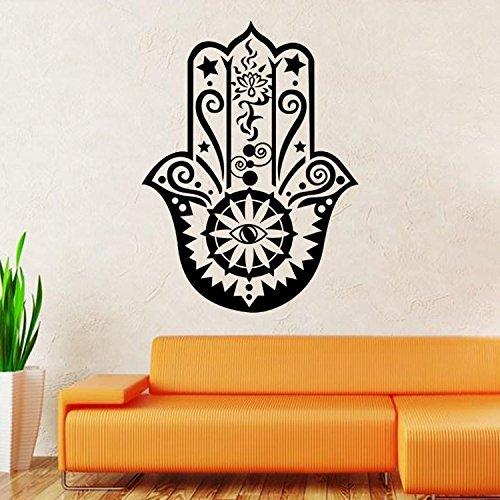 BIBITIME Wall Decal Vinyl Sticker Decals Hamsa Hand Eye Indian Yoga Buddha Menhdi Ganesh Fatima Namaste
