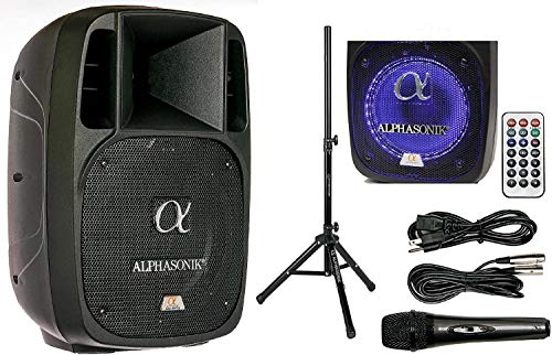 "Alphasonik 10"" Powered 1600W PRO DJ Amplified Loud Speaker Bluetooth USB SD Card AUX MP3 FM Radio PA System LED Ring Karaoke Feature Mic (Main Monitor, Band, Church, Party, Guitar Amp) w/Tripod Stand"