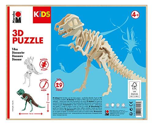 Marabu 317000000021 - KiDS 3D Holzpuzzle T-Rex Dinosaurier, mit 29 Puzzleteilen aus FSC-zertifiziertem Holz, ca. 23,5 x 32 cm groß, einfache Stecktechnik, zum individuellen Bemalen und Gestalten