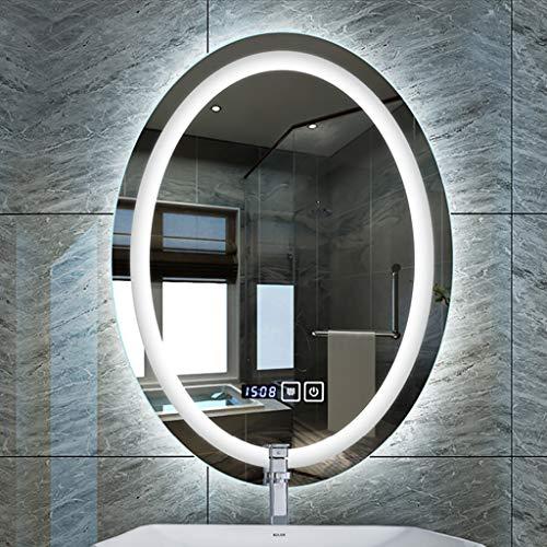 Make-up spiegel, verlicht, met LED-verlichting, badkamerspiegel, tijd-/temperatuurweergave + spiegel, ovaal, voor bevestiging aan de muur