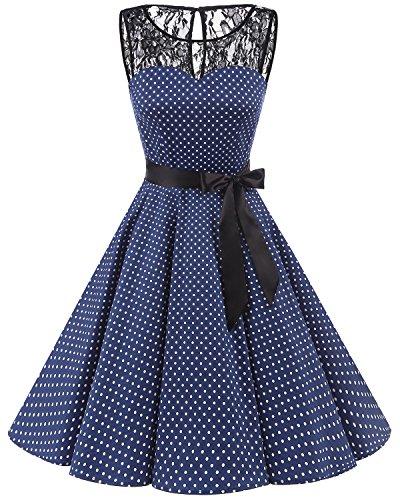 bbonlinedress 1950er Ärmellos Vintage Retro Spitzenkleid Rundhals Abendkleid Navy White Dot L
