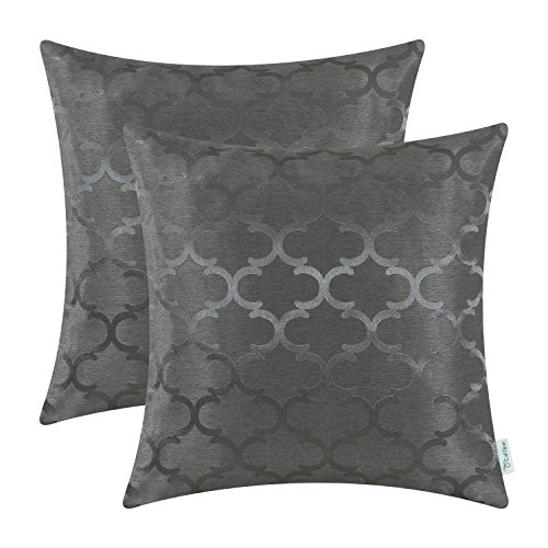 CaliTime Cushion Covers Pack of 2 Throw Pillow Cases Shells for Home Sofa Couch Modern Shining & Dull Contrast Quatrefoil Accent Geometric 50cm x 50cm Grey