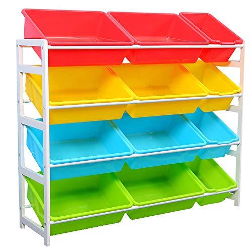 no brand Toy Support de Rangement Jouet de Stockage Unité de Stockage de Jouets en Bois boîtes avec 12 boîtes en Plastique for Bins Chambre Enfants Enfants Toy Box Support Finition pour Enfants