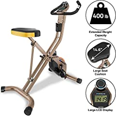 Heavy Duty and High Durability steel frame construction with up to 400 lbs weight capacity. 20% more steel than the Exerpeutic Folding Magnetic Upright Bike for more maximum performance. An 8 level Magnetic Tension control system for an easier or mor...