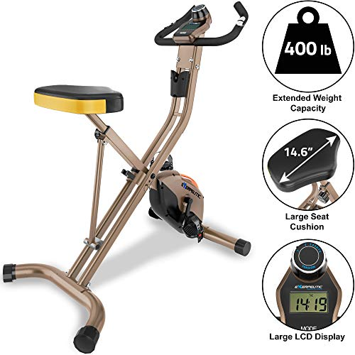 Check Out This Exerpeutic Gold Heavy Duty Foldable Exercise Bike with 400 lbs Weight Capacity