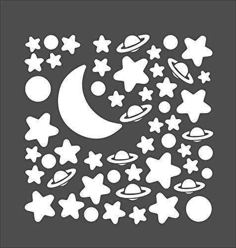 Set of Moon, Planets and Stars. Perfect for kids room, nursery ,baby room. Wall Sticker (60cm x 60cm) by Broomsticker
